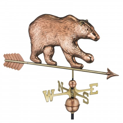 Good Directions Bear Weathervane with Arrow - Pure Copper