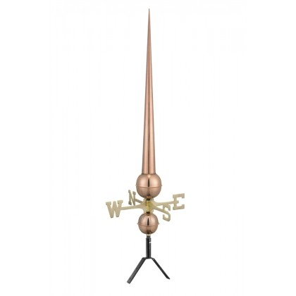 "Pure Copper 43"" Gawain Rooftop Finial with Directionals"