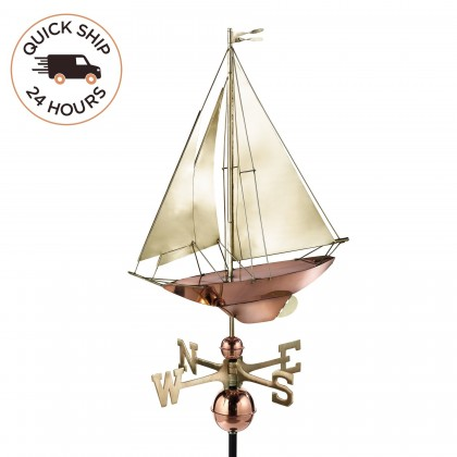 Good Directions Racing Sloop Weathervane - Pure Copper with Brass Sail