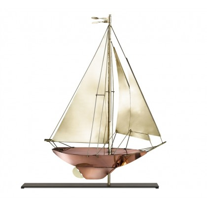 Racing Sloop Pure Copper and Brass Weathervane Sculpture on Mantel Stand