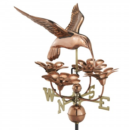 Good Directions Hummingbird with Flowers Weathervane - Pure Copper
