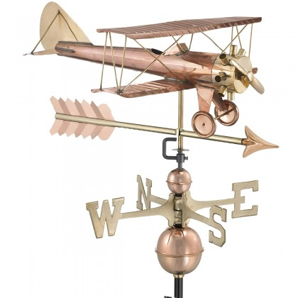 Good Directions Biplane with Arrow Weathervane - Pure Copper