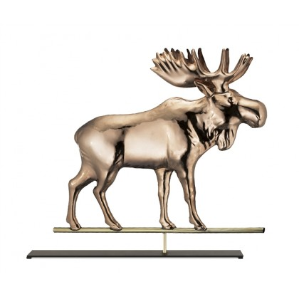 Moose Pure Copper Weathervane Sculpture on Mantel Stand