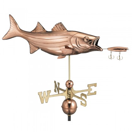 Good Directions Bass with Lure Weathervane - Pure Copper