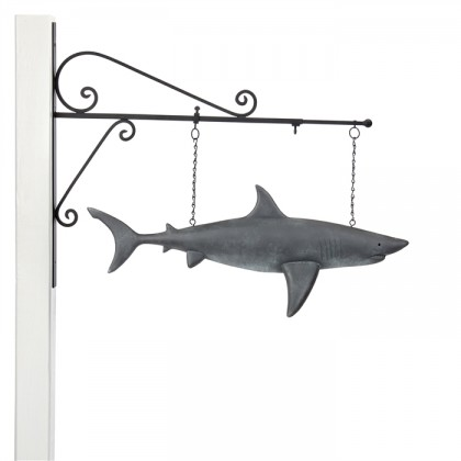 Hanging Shark Grey Patina Weathervane Sign with Decorative Bracket