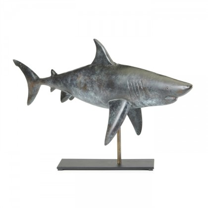Shark Pure Copper Weathervane Sculpture on Mantel Stand