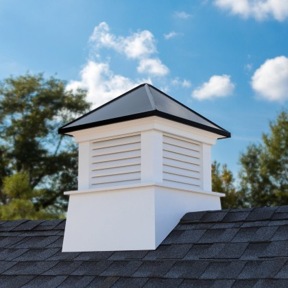 """Good Directions Manchester Vinyl Cupola with Black Aluminum Roof 26"""" x 32"""""""