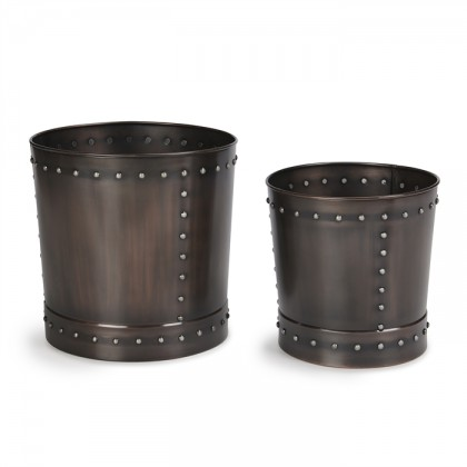 Large Riveted Bronze Planter Set of 2
