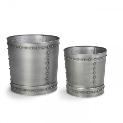 Large Riveted Zinc Planter Set of 2