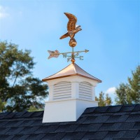 """Square Coventry Vinyl Cupola with Eagle Weathervane 18"""""""