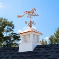 "18"" Square Manchester Vinyl Cupola with Horse Weathervane"
