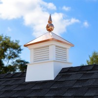 "18"" Square Manchester Vinyl Cupola with Avalon Copper Finial"