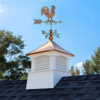 """26"""" Square Coventry Vinyl Cupola with Rooster Weathervane"""