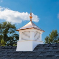 "26"" Square Coventry Vinyl Cupola with Victoria Copper Finial"