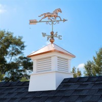 "26"" Square Manchester Vinyl Cupola with Horse Weathervane"