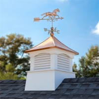 "30"" Square Coventry Vinyl Cupola with Horse Weathervane"