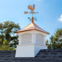 "30"" Square Coventry Vinyl Cupola with Rooster Weathervane"