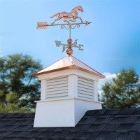 "30"" Square Manchester Vinyl Cupola with Horse Weathervane"