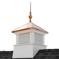 "30"" Square Manchester Vinyl Cupola with Victoria Copper Finial"