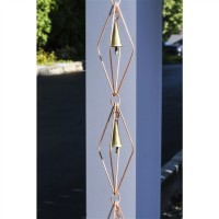 Diamond Pure Copper 8.5 ft. Rain Chain with Bells