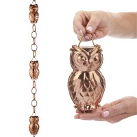 Owl Pure Copper 8.5 ft. Rain Chain