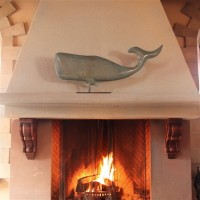 "37"" Whale Pure Copper Weathervane Sculpture on Mantel Stand"