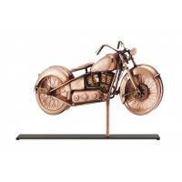 Motorcycle Pure Copper Weathervane Sculpture on Mantel Stand