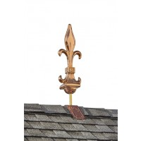 Fleur-De-Lis Pure Copper Finial with Decorative Copper Roof Mount