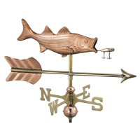 Bass with Lure and Arrow Garden Weathervane with Garden Pole