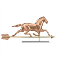 Large Horse Pure Copper Weathervane Sculpture on Mantel Stand
