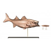 Bass with Lure Pure Copper Weathervane Sculpture on Mantel Stand