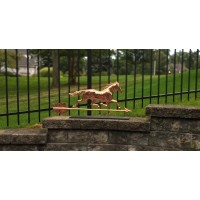 Trotting Horse Pure Copper Weathervane Sculpture on Mantel Stand