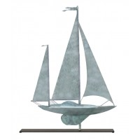Yawl Blue Verde Copper Weathervane Sculpture on Mantel Stand