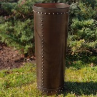 Tall Riveted Bronze Planter