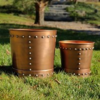 Medium Riveted Copper Planter Set of 2