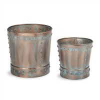 Medium Riveted Verdigris Planter Set of 2